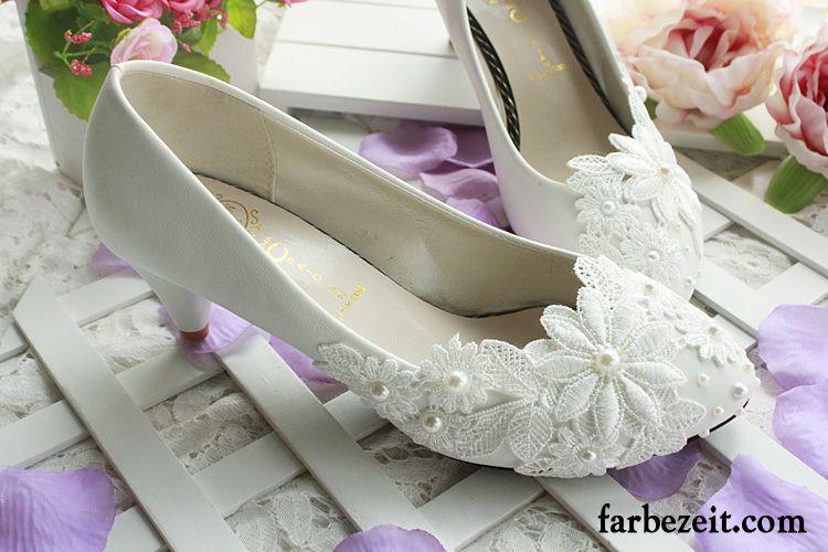 Blau Weisse Pumps Flache Hochzeit Schuhe Schnurschuhe Weiss Damen