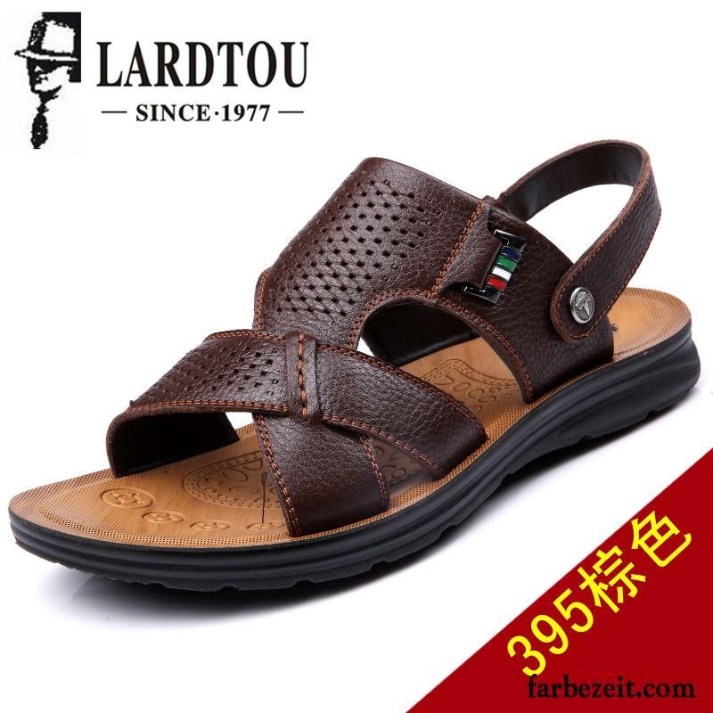 Herren Outdoor Schuhe Original Casual Sandalen Leder Echtleder Trend Sommer  Pantolette Neue Atmungsaktiv Rabatt 29133562fd