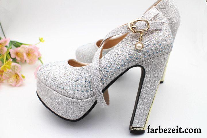 Rosa Schuhe Pumps Dick Silber Neue Weiß Partei Hochzeit Schuhe Damen