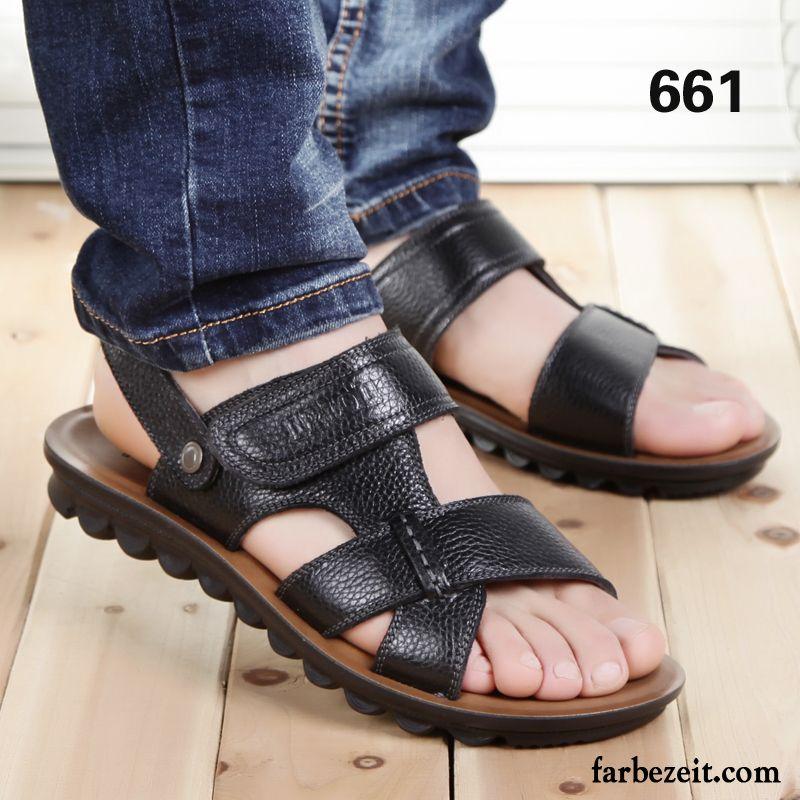 Bunte Schuhe Herren Pantolette Atmungsaktiv Sandalen Sommer Casual Leder  Schuhe Neue Echtleder Strand Rabatt 956068ca9e