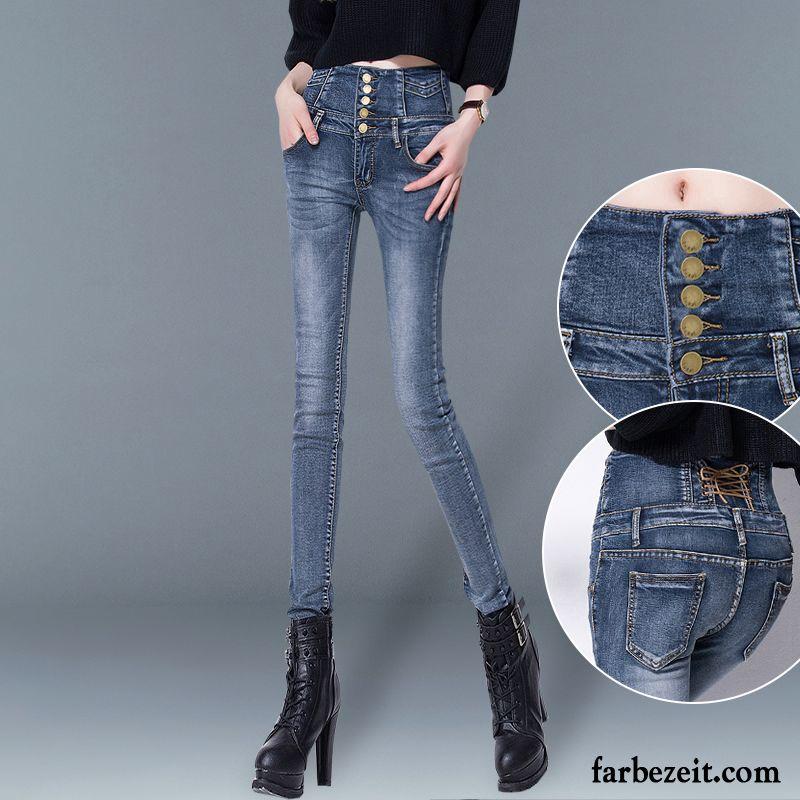 99d86569e000 Damen Jeans In Kurzgrößen Enger Schnallen Winter Bleistift Hose Schüler  Jeans Schmales Bein Hohe Taille Schaltflächen ...
