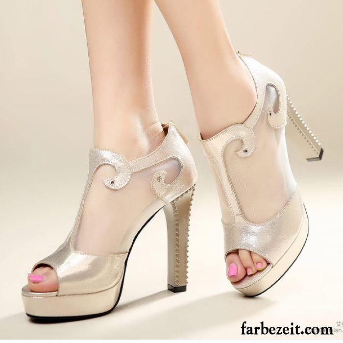new style 5d888 ff172 Damenschuhe Silber Pumps Mode Pumps Peep-toe Dick ...