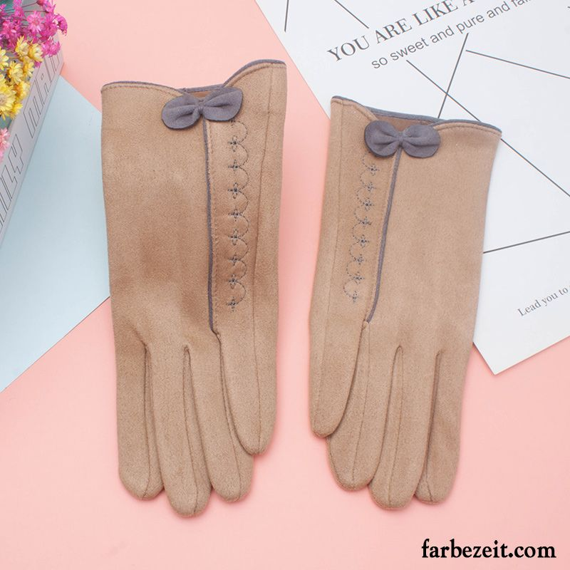 Handschuhe Damen Touchscreen Outdoor Reiten Winter Stickerei Kaschmir Khaki