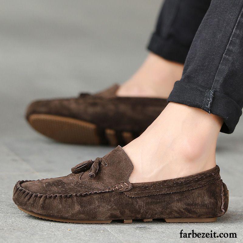28cf6bcec34047 Herren Sommerschuhe Echtleder Trend Faul Schuhe Lederschue Jugend Feder  Casual England Weiche Sohle Kaufen