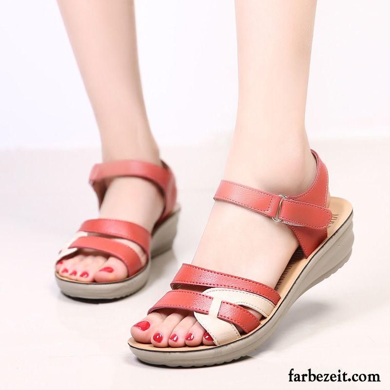 Große Schuhe Größe Silberne Rutschsicher Keilschuhe Sandalen Flache AL3qj54R