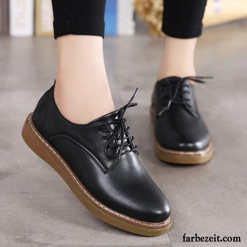 97f53732fa2b61 Sommer Leder Schuhe Flache Neue Casual England Feder Schnürschuhe  Lederschuhe Damen Schwarz Kaufen