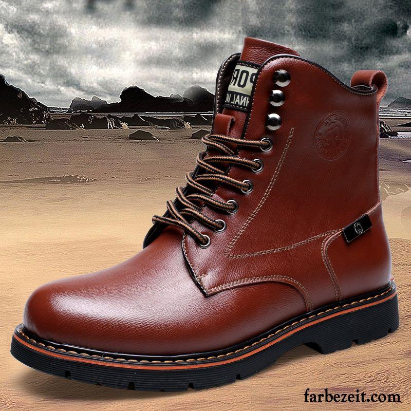 7c0512fe21b843 Wasserdichte Stiefel Herren Hohe Trend Thermische Martin Stiehlt Leder  England Plus Samt Cargo Stiefel Schuhe Winter Baumwolle Schuhe Günstig
